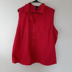 Womens basic edition red sleeveless top 2x plus